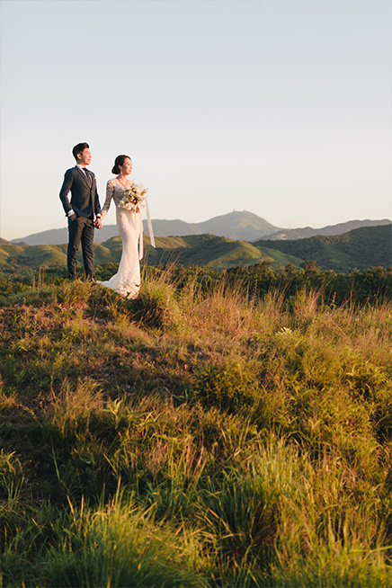 couple pose during golden hour for couple shoot