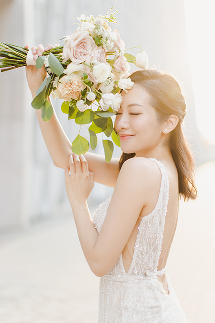 bride poses during photoshoot