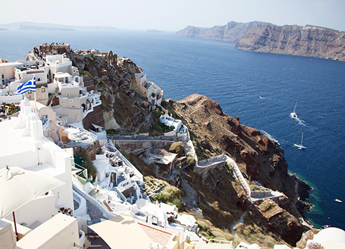 view of a town in santorini