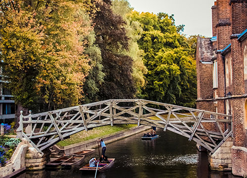 mathematical bridge with autumn trees in background