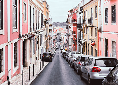 photo of the pink buildings in Lisbon