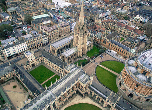 aerial view of oxford in oxfordshire