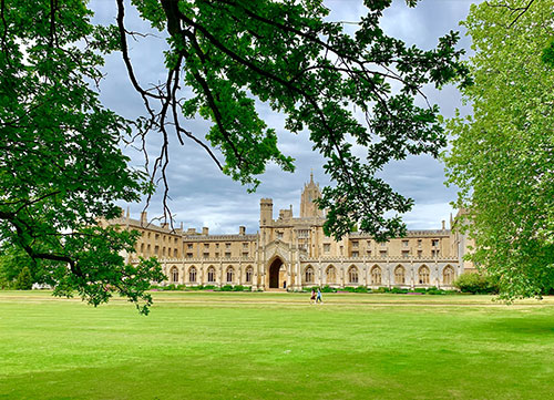 photo of st johns college with tree branch in foreground