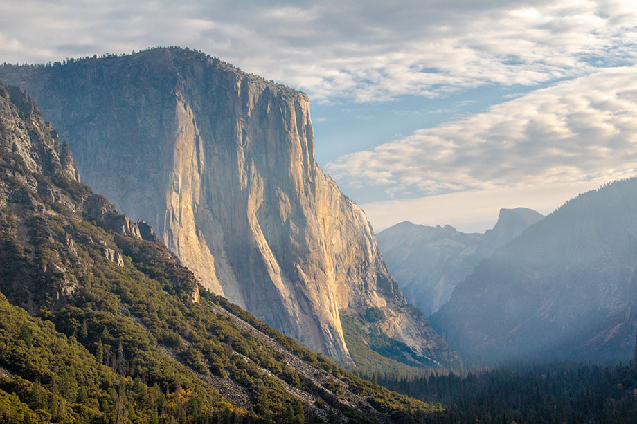 photo of Yosemite with blue sky and trees